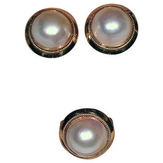 14K Ring and Earrings Set w/ Mabe Pearls