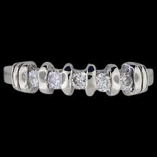 14K White Gold Five Diamonds Ring