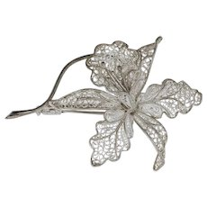 .800 Silver Orchid Motif Mesh Pin