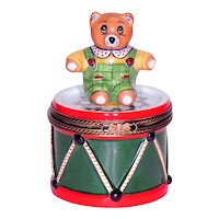 Limoges by Rochard Porcelain Snuff / Trinket Box .. Bear on Drum