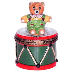 Limoges by Rochard Porcelain Snuff / Trinket Box .. Bear on Drum