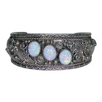 F. James Sterling Silver & Opal Cuff Bracelet