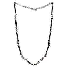 Sterling Silver Articulated Necklace w/ Beads and Tubes