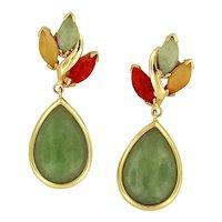 Pair of 14KYG Three Color Jadeite Earrings