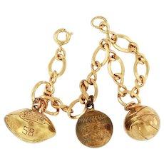 12K Gold Filled Sports Charms & Bracelet