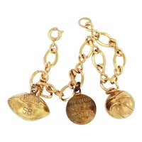14K Gold Filled Sports Charms Bracelet