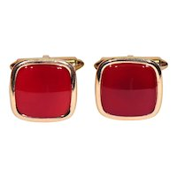 14K Solid Yellow Gold and Carnelian Cuff Links