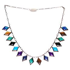 Sterling 950 Mexican Necklace with Gemstones