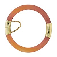 Carnelian & Gold Filled Hinged Bangle