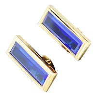 14K Yellow Gold Cuff Links w/Lab Sapphires