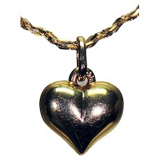 14K Yellow Gold Necklace with Puffy Heart