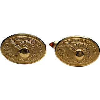Pair of West Point 14K Gold Overlay Cuff Links by Krementz