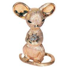 14K Solid Yellow Gold Mouse Figure w/ Diamond Basket  51.0 grams