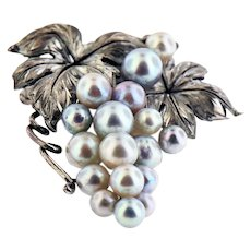 Japanese Silver Brooch with Cultured Pearls