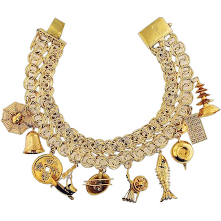 14K Solid Yellow Gold Asian Ten Charm Bracelet