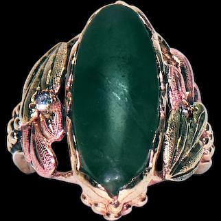 10K Black Hills Gold Ring w/ Jade and Diamonds