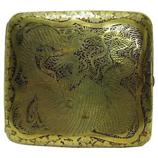19th Century Oriental Damascene Kyoto Komai Style Cigarette Cheroot Case Signed