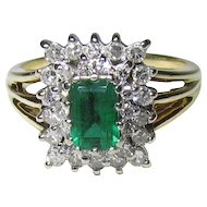 14K Gold Mid-Century Emerald & Diamond Halo Style Ring
