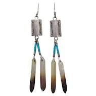 Sterling, Turquoise, & MOP Earrings Frank Ortiz
