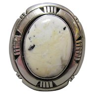 Navajo Sterling & White Buffalo Turquoise Ring Att. Kay Yazzie