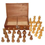 Vintage Turned & Carved Wood Chess Set In Box France