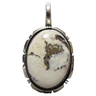 Navajo Sterling White Buffalo Turquoise Pendant Kay Yazzie
