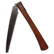 Meiji Period Signed Japanese Folding Locking Pruning Bonsai Saw