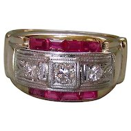 Men's Art Deco 14K Gold Diamond & Ruby Ring