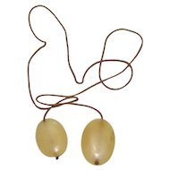 Lots Of Bling Without The $ting:  Silky Smooth Bone On Cord Lariat Necklace