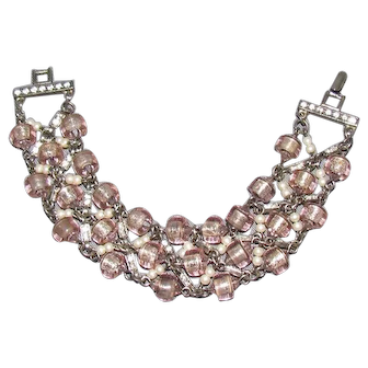 Lots Of Bling Without The $ting:  Love Pink?! Glass Bead & Faux Pearl Bracelet