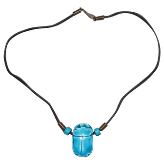 Lots Of Bling Without The $ting:  Glazed Porcelain Scarab Pendant