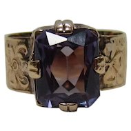 Antique 10K Gold Synthetic Corundum Alexandrite Ring