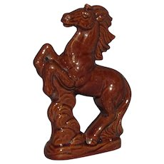 19th Century Rockingham Glaze Redware Rearing Horse Figure