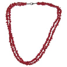 Red Coral Double-Strand Polished Branch Necklace