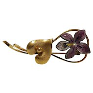 Wells Art Deco Gold Filled Flower Pin From An Old Locked Away Estate Collection