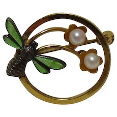 Vintage Wells 14K Gold Filled Enamel Bee Pin