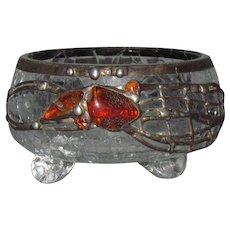 Leaded Amber Mounted Crackle Blown Art Glass Cache Pot