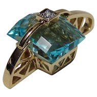 14K Gold Fantasy Cut Blue Topaz & Diamond Pendant