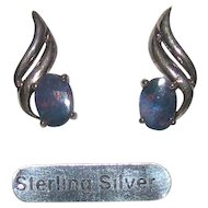 Sterling Bling Without The $ting: Vintage Sterling Silver & Black Opal Triplet Earrings