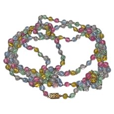 Vintage 30-Inch Pastel Glass Bead Necklace