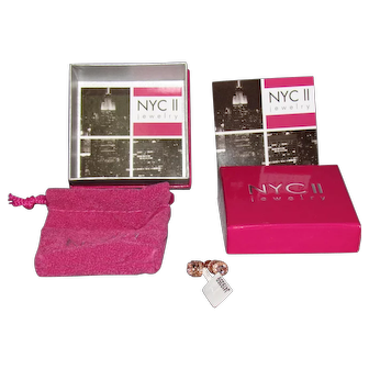 Lots Of Bling Without The $ting:  NEW Vintage NYC II Rose Gold Over Sterling Earrings With Box & Papers