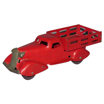 1930s Marx Art Deco Airflow Style Red Stake Body Truck