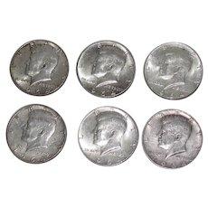 6 Kennedy US Silver Half Dollars 1964
