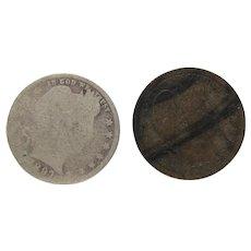 2 US Barber Silver Quarters