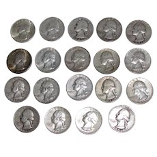 19 US Washington Silver Quarters