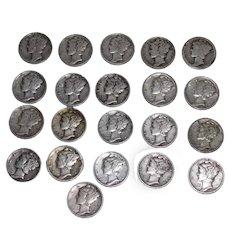 21 Mercury US Silver Dimes