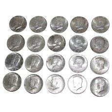 20 Kennedy (#2) US Silver Half Dollars 1964