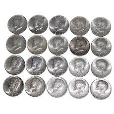 20 Kennedy (#1) US Silver Half Dollars 1964