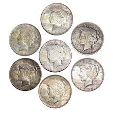7 US Peace Silver Dollars