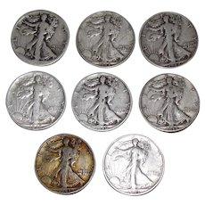 8 Standing Liberty US Silver Half Dollars
